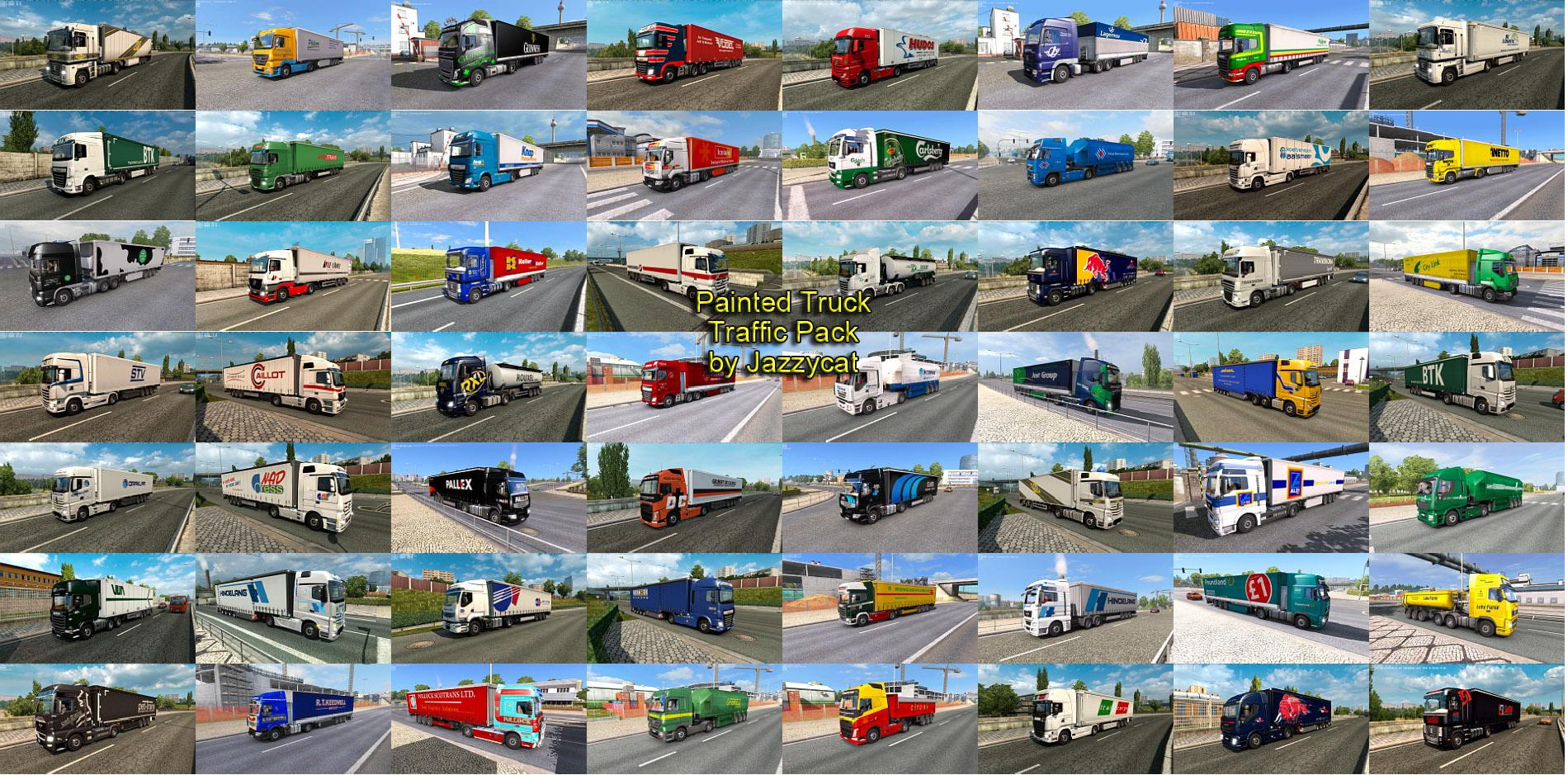 PAINTED TRUCK TRAFFIC PACK MOD BY JAZZYCAT V4 0 ETS2 [1 27 & 1 28
